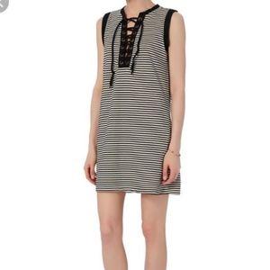 NSF Stripe Tank Dress Grommet Lace Up
